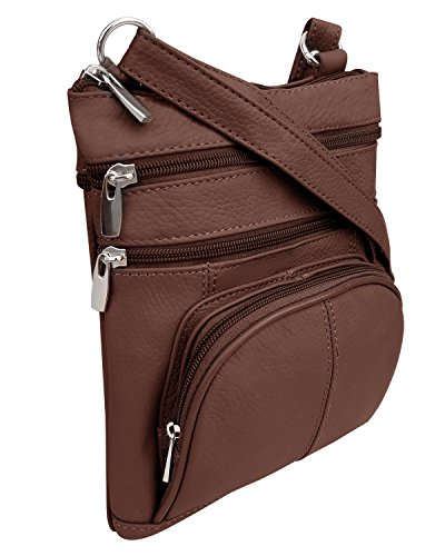 Front Brown Strap 3 Zippered Roma Crossbody Adjustable Pockets Purse Leathers qwfqvXWznF