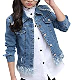Big Girls Boyfriend Cool Distressed Frayed Hem Button Down Jeans Jacket Denim Coat for Kids 150 Blue