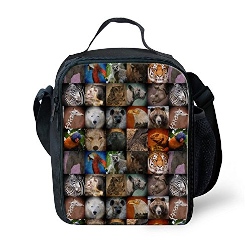 HUGS IDEA Animals Thermal Insulated Kids Lunch Bag Tote Portable Picnice Food Storage Lunchbox for School Work Office by HUGS IDEA