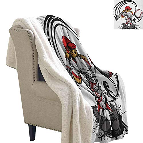 Willsd Teen Room Baby Blanket Baseball Cartoon Style Player Hitting The Ball Boys Kids Caricature Print Machine Washable and Drier Safe Grey Red White W59 x -
