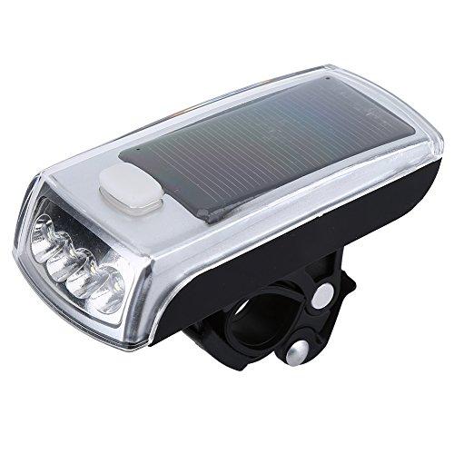Dilwe - Linterna de Ciclismo con luz LED Solar y Cargador USB para Bicicleta, con Cable USB y Soporte para Bicicleta de...