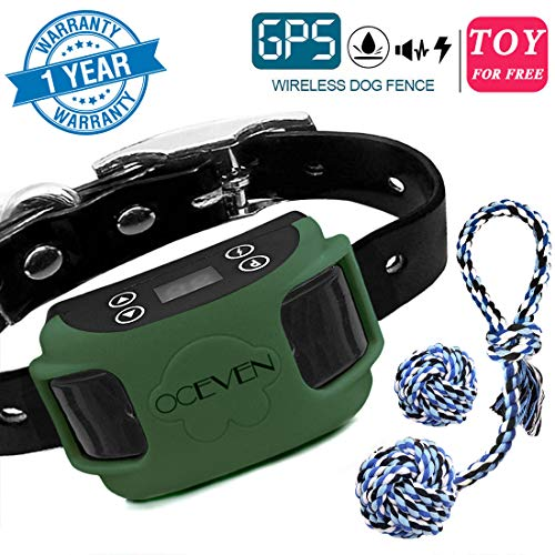 OCEVEN Wireless Dog Fence System with GPS, Outdoor Pet Containment System Rechargeable Waterproof Collar EF851S, Dark…