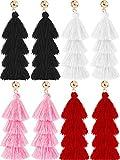 Hestya 4 Pairs Tassel Earrings Handmade 4 Layers Elegant Tassel Drop Earrings for Women Girls Accessories (Black, White, Pink and Red)