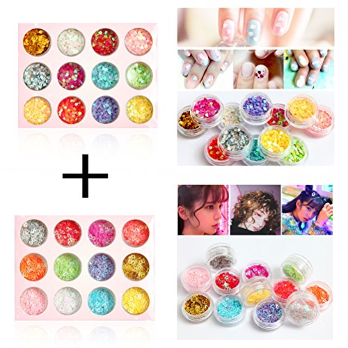 DIY 12 Colors Hollow & Solid Heart Star Iridescent Glitter Sequins Spangle 2 Sets 24 Jars for Nail Art Tip Deco Crafts Project
