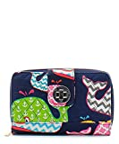 quilted wallets for teen girls - Whale Chevron Stripe Anchor Quilted Multi Color Zip Around Organizer Wallet