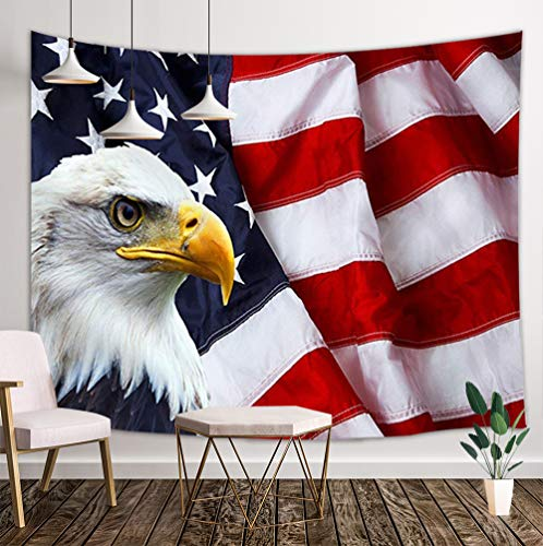 JAWO American Flag Tapestry, Stars and Stripes USA Flag and Bald Eagle Pattern Hippie Tapestries Wall Hanging, Wall Tapestry for Dorm Living Room Bedroom, Wall Blanket Wall Decor Art Home Decoration