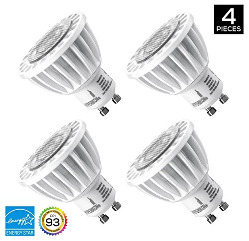 Hyperikon MR16 GU10, Dimmable LED 7W (50W equivalent), 460 lumen, 5000K (Crystal White Glow), CRI 90+, UL-Listed & ENERGY STAR - (4 Pack) - Dimm Reflector