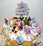 My Little Pony The Movie Deluxe Mini Cake Toppers Cupcake Decorations Set of 14 with 12 Figures, Special Sticker and ToyRing Featuring Twilight, 4 Seaponies, Unicorn, Pirates!