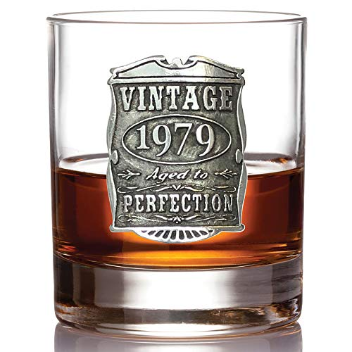 English Pewter Company Vintage Years 1979 40th Birthday or Anniversary Old Fashioned Whisky Rocks Glass Tumbler - Unique Gift Idea For Men [VIN004] by English Pewter Company Sheffield, England (Image #1)