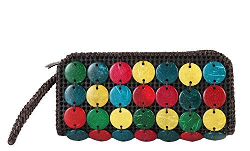 Diophy Colorful Woven Clutch Accented with Beads Décor Womens Purse Wallet Wristlet Handbag YW-3243 YW-3244 (Bead Accented Handbag)