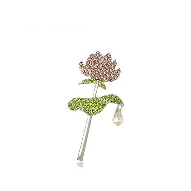 Wllay Exquisiste Crystal Lotus Flower Brooch Pin Bridesmaid Wedding