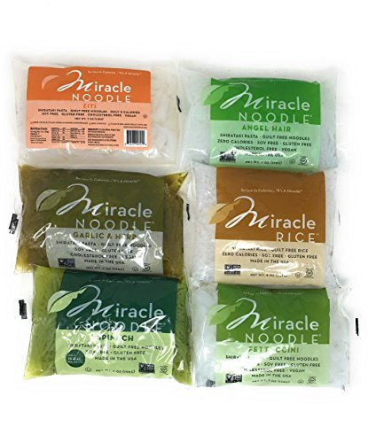 Miracle Noodle Gluten Free Zero Carbs Keto Shirataki Pasta and Rice,Variety Bundle of Six 7-Ounce Packages: One Each of Angel Hair, Fettucine, Rice, Spinach Angel Hair, Garlic Herb Fettucine, and Ziti