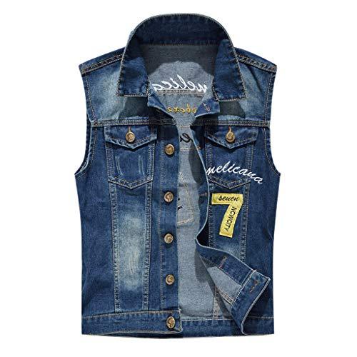 Tronet Men's Casual Button Up Slim Denim Vest Sleeveless Ripped Jean Waistcoat Jacket Motorcycle Men's Denim Vest Casual Cowboy Jacket in Shoulder Blouse (Best Paintball Jersey 2019)