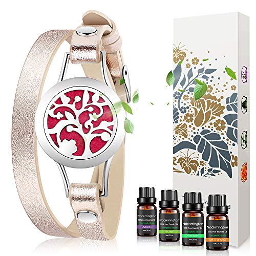 Birthday Gifts for Women - Essential Oil Bracelets Aromatherapy Diffuser Bracelet with Lavender, Sweet Orange, Peppermint,Tea tree Set Jewelry for Women,Mother,Girlfriend at Christmas Gifts for Women