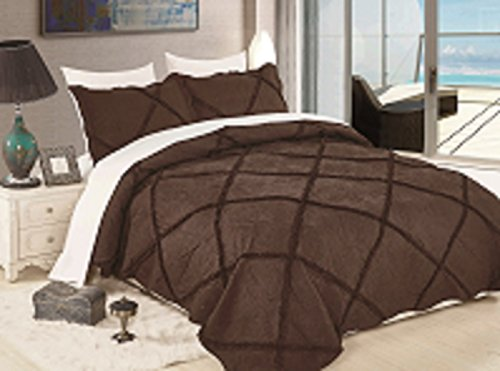 Elegant Home Beautiful Luxury Dark Brown Coffee Chocolate Solid Color Diamond Pleated Ruffle 3 Piece Coverlet Bedspread Quilt Bed Cover # Madeline Chocolate (King)