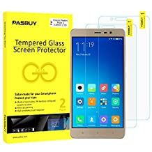 PASBUY 2 Pack Super thin 0.26mm [ Japan Glass ] Premium Tempered Glass film Screen Protector-Retail packing for Xiaomi Redmi Note 3
