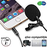 Lavalier Lapel Microphone,Iphone Microphone with Easy Clip on System Perfect for Recording Youtube Vlog Interview/Video Conference/Podcast | Best Lapel Mic for iPhone iPad Android