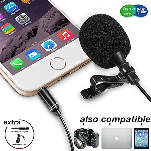 Lavalier Lapel Microphone,Iphone Microphone with Easy Clip on System Perfect for Recording Youtube Vlog Interview/Video Conference/Podcast | Best Lapel Mic for iPhone iPad Android ()