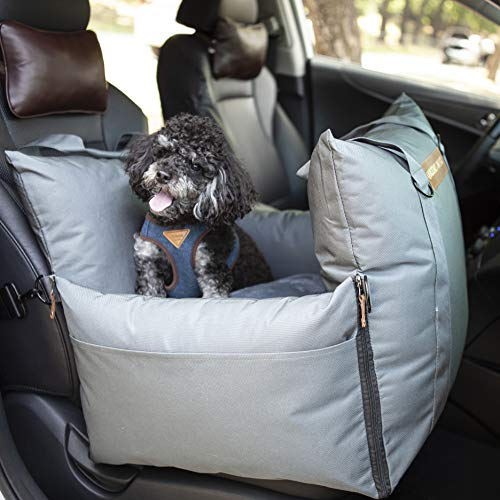 Queens Nose Premium Dog Car Seat - Pet Booster Seat with Front & Rear High Safety Pillows for Small and Medium Dogs up to 30 lbs - Travel Dog Bed with Handles - Waterproof, 2 Safe Leashes and Belts