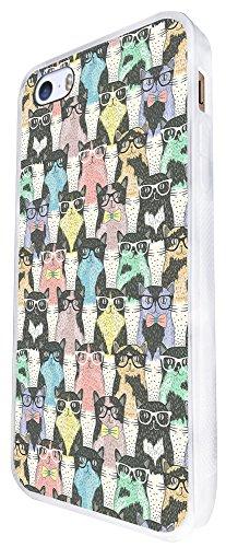924 - Collage Multi Cats Sunglasses Design iphone SE - 2016 Coque Fashion Trend Case Coque Protection Cover plastique et métal - Blanc