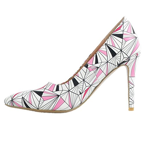 Kolnoo Womens Handcrafted Patchwork Large Size High Heel Pumps Fashion Shoes Pink NwrwofN