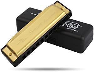 Swan 10 Holes Harmonica Diatonic Harp Professional Musical Instrument in Key C (Gold)