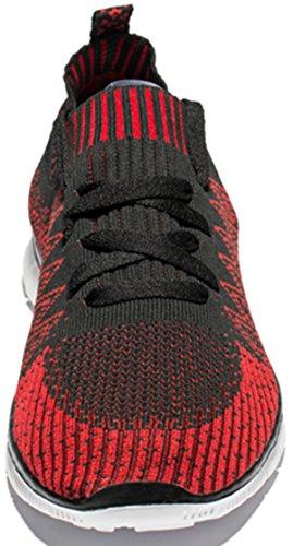 Ruash Erd Männer gestrickte Mesh Laufschuhe mit atmungsaktiver Mesh-Obermaterial und Gummisohle Rot und Schwarz