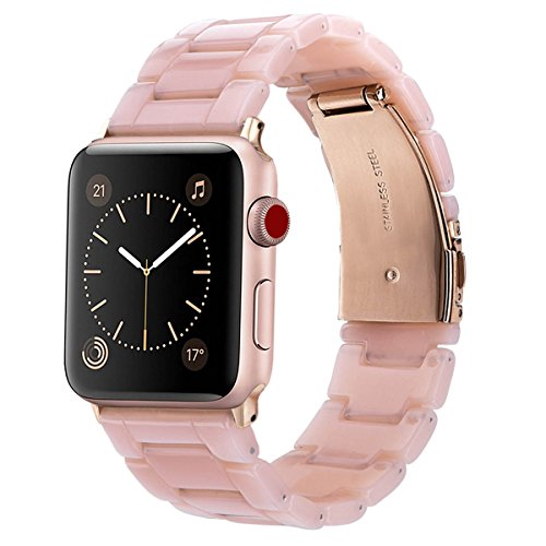 Link Plastic Band (V_moro Compatible 38mm Apple Watch Band Women Men- Fashion Resin iWatch Band Bracelet with Copper Stainless Steel Buckle for Apple Watch Series 3 Series 2 Series 1 (Pink-Tone, 38mm(5''-7.67'')))