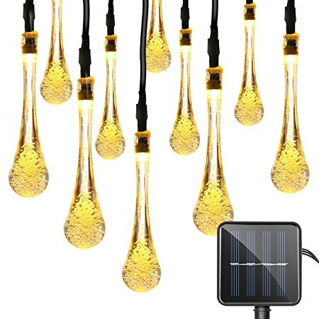 Quace Solar String Lights 6m/20ft 30 LED Water-Resistant Lights Festival Decoration Crystal Water Drop String Lights for Indoor Outdoor Bedroom Patio Lawn Garden Wedding Party Decorations - Warm White