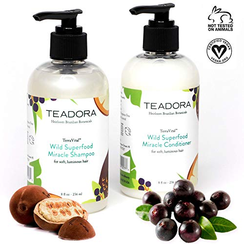 Shampoo & Conditioner Brazilian Hair Products | Vegan, Gluten-Free, Sulfate-Free | Deep Conditioning Treatment Best for Damaged, Frizzy, Color & Keratin Treated Hair | 8oz by Teadora