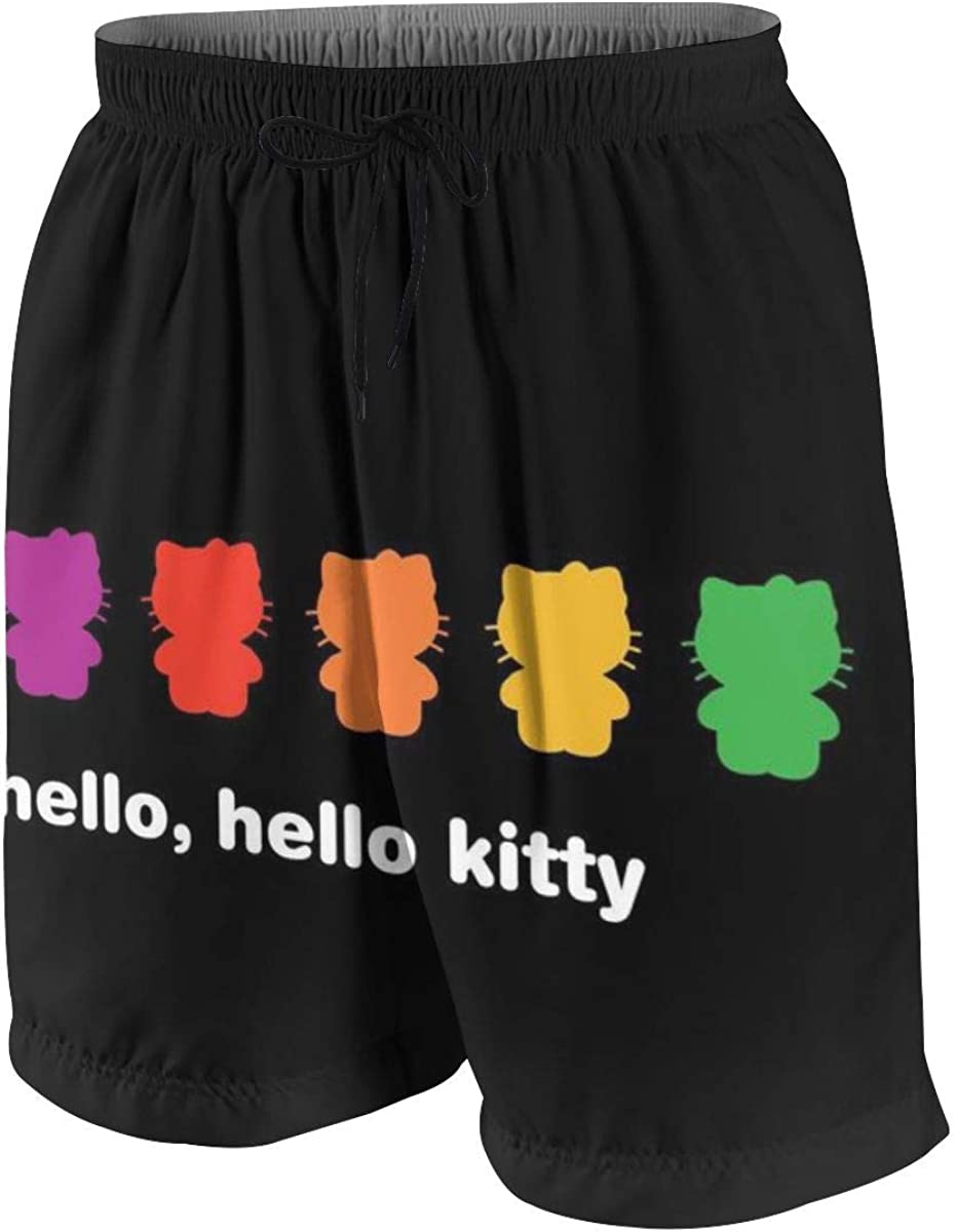 Swim Trunks Hello Hello Kitty Quick Dry Beach Board Shorts Bathing Suit with Side Pockets for Teen Boys