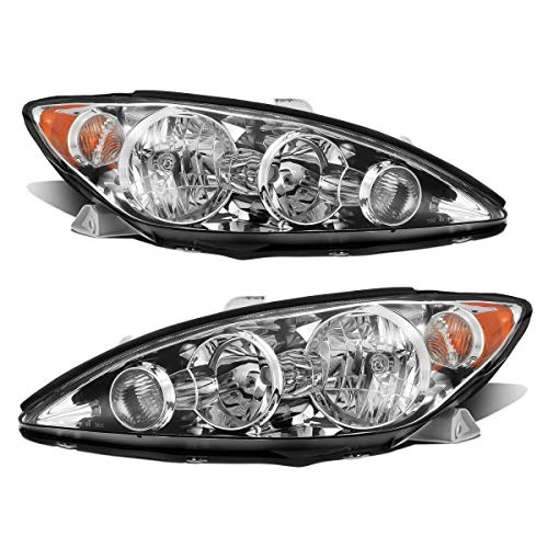 Partsam Headlights Assembly Compatible with Toyota Camry LE XLE SE 2005 2006 Side Left Right Headlamps Replacement Chrome Housing w/Amber Corner Reflector Lamps (Driver and Passenger Side)