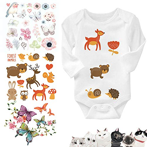 ARTEM 4 Set Baby Iron On Patch Heat Transfer Patches with Lovely Cartoon Animal Bird Flowers Butterfly Cat Design for DIY Decoration Kid's Clothes Washable Appliques Stickers