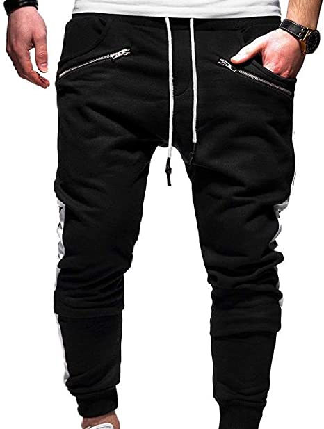 VITryst Men's Plus-size Elastic Waist Long Pants Pants with Side Taping
