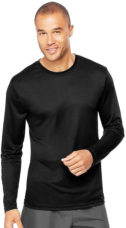 482L -Light Blue//Wow Pink-XL Hanes mens Cool DRI Performance Long-Sleeve T-Shirt