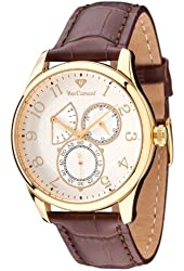 Yves Camani Roubion Retrograde Men's Quartz Watch Gold Plated Brown Leather Strap YC1056-C