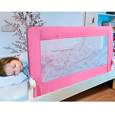 Tatkraft Guard Baby Bed Rail Foldable 120 cm Easy Fit Baby Safety Tall Bed Guard Rail for Toddlers/Kids / Children, Pink Color, Sturdy and Solid