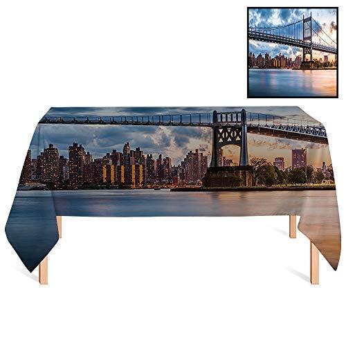 SATVSHOP Kitchen Tablecloth /55x120 Rectangular,New York City Blue Kennedy Triboro Bridge and Queens NYC Lights Manhattan River Navy Blue.for Wedding/Banquet/Restaurant.