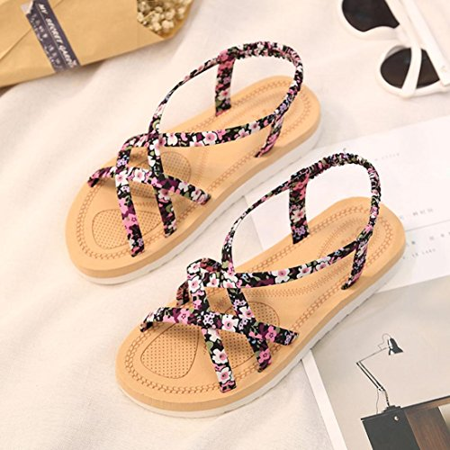 HLHN Women Cute Floral Round Head Flat Bohemia Boho Beach Elastic Sandals Shoes Pink Vo3zS07