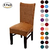 Room Chairs Colorxy Velvet Spandex Fabric Stretch Dining Room Chair Slipcovers Home Decor Set of 4, Camel