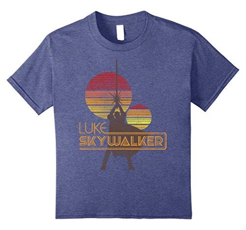 Kids Star Wars Retro Luke Skywalker Silhouette Suns T Shirt 8 Heather Blue