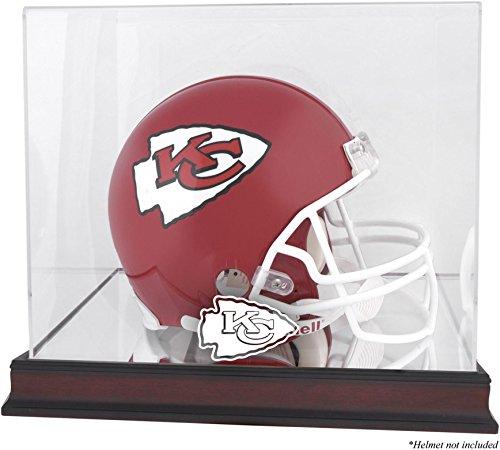 Kansas City Chiefs Mahogany Helmet Logo Display Case and Mirror Bottom and Back