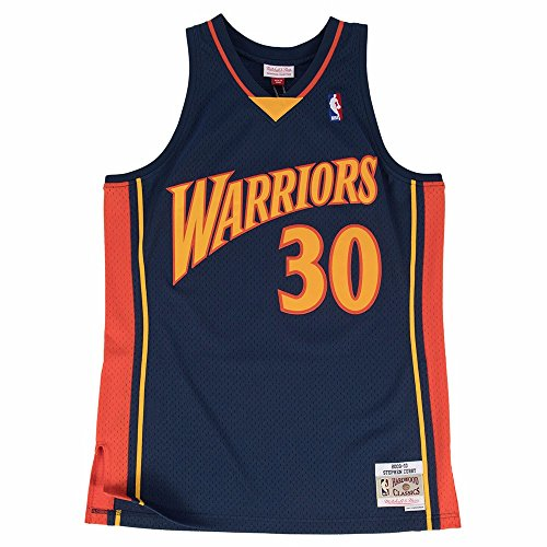 (Mitchell & Ness NBA Golden State Warriors Stephen Curry Dark Blue Throwback Jersey (XX-Large))