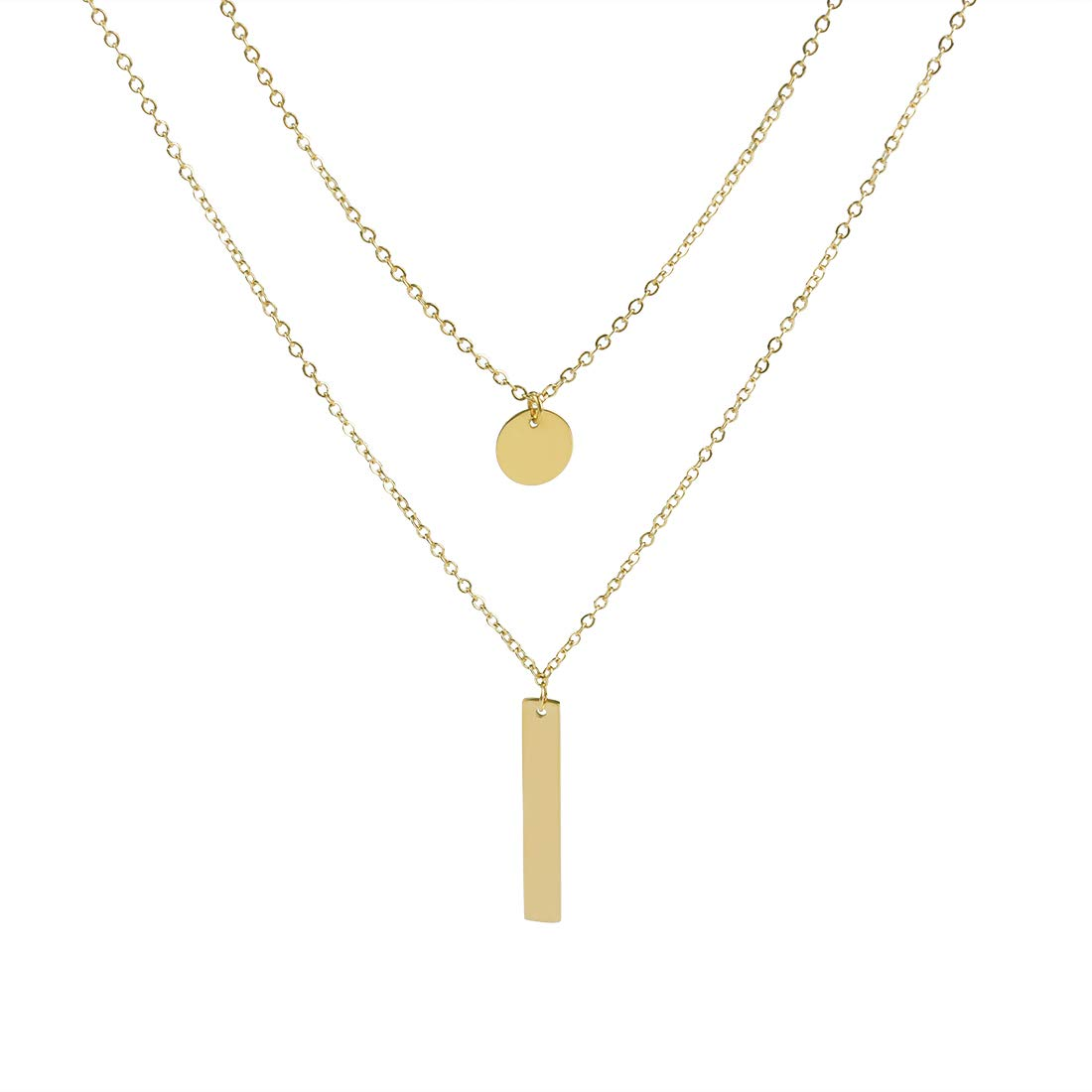 f121456b9c4df HYEUNA Gold Tone Layered Necklace Charms Disc Coin Bar Pendant Y ...
