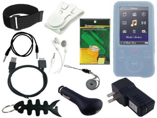 11 Items Premium Accessory Combo for Sony Walkman NWZ E436/E436F E438/E438F Series (includes: Universal Car Charger + Universal Wall Charger + usb data straight cable + Blue Silicone Skin Case + Adjustable Armbrand + Belt Clip + Screen Protector +3.5mm~3.5mm straight Auxiliary mp3 cable + White Stereo Headphone & Fishbone style Keychain)