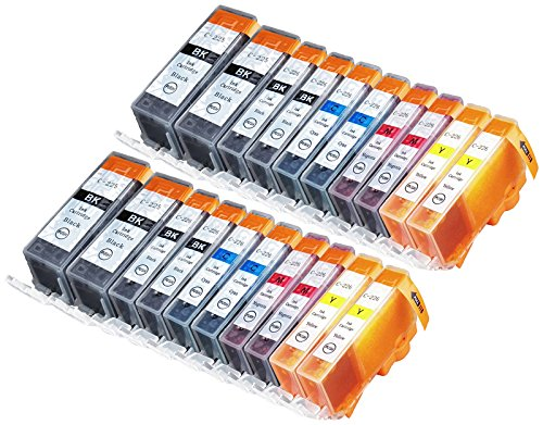 Sherman Inks 20 Pack Compatible CLI-226, PGI-225 4 Small Black, 4 Cyan, 4 Magenta, 4 Yellow, 4 Big Black Ink cartridge for use with Canon Ink Cartridges for inkjet printers Pixma MG5320, MG5220, MX892, MG6120, MG6220, PIXMA iX6520, MG8220, MG8120, iP4920, MG5120