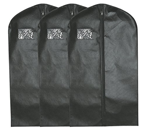 Suit Bags (Black) - Set of 3 Suit Travel Bags Suit Covers 42 x 24 inch, Breathable Garment Bags Perfect for Travel or - Essential Suits