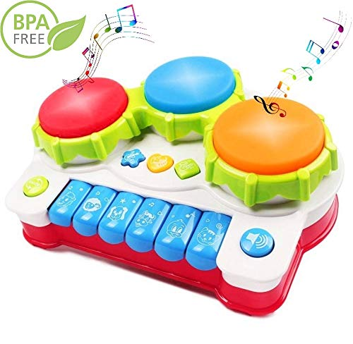 Haktoys Hand Drum and Keyboard Piano with LED Lights and Sou