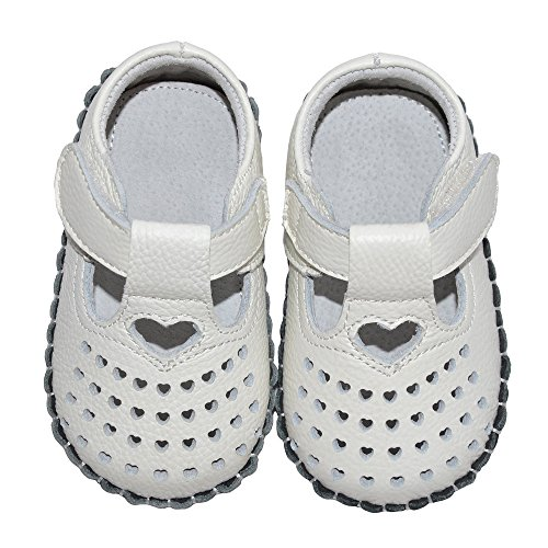 Bumud Baby's Cutout Soft Sole Genuine Leather Flats Infant Toddler Prewalker Shoes (0-18 Month) (15-18 Months, White) by Bumud (Image #1)