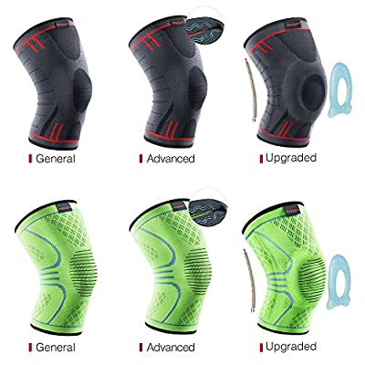 Kuangmi Knee Brace Compression Sleeve Sports Support Brace Pad for Running,Jogging,Basketball,Football Joint Pain Relief